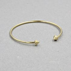 Gold double spike cuff bracelet