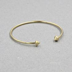 Gold double spike cuff bracelet
