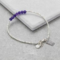 Personalised Silver Birthstone Bracelet