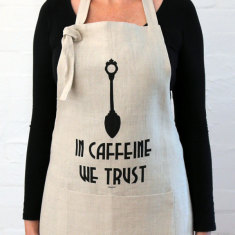 In caffeine we trust apron