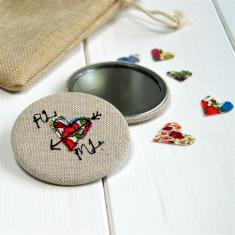 Personalised love heart pocket mirror