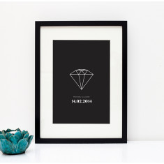 Diamond ring personalised engagement print