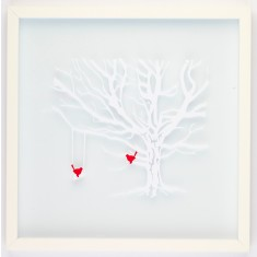 Paper tree and swing paper cut with cheeky red birds