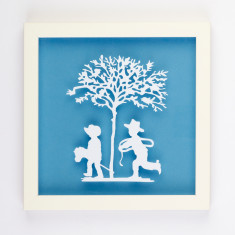 Vintage children cowboys and indians paper cut