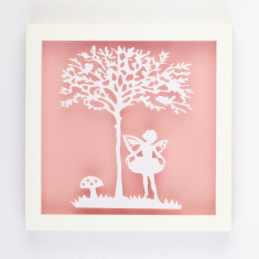Vintage children fairy paper cut
