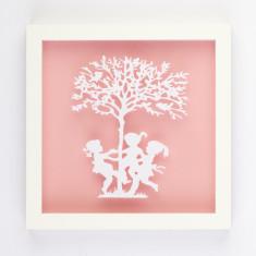 Vintage children ring-a-rosie framed paper cut