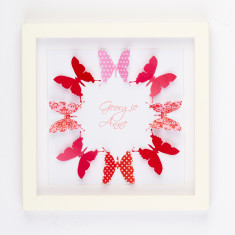 Personalised papercut butterfly birth announcement artwork