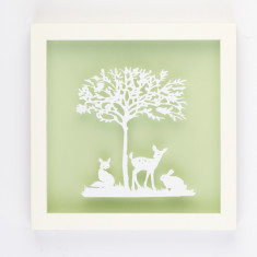 Vintage children forest friends papercut