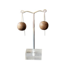 Natural wood imperfect bead earrings