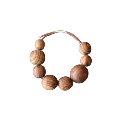 Natural wood imperfect bead bracelet
