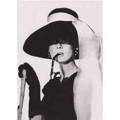 Audrey Hepburn large hat vintage poster print