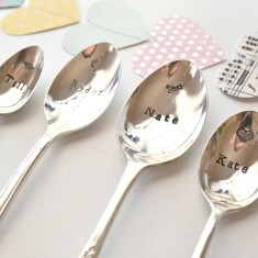Hand-stamped vintage teaspoon for new baby or child