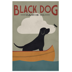 Black dog canoe poster print by Ryan Fowlers