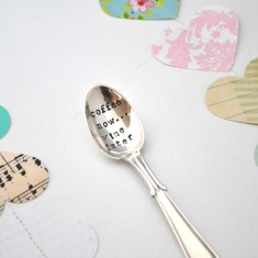 Coffee now... wine later hand-stamped vintage teaspoon