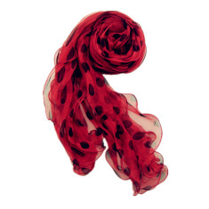 Red with black dot silk scarf
