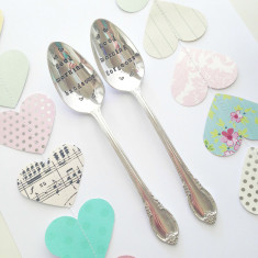 Hand-stamped good morning handsome & gorgeous teaspoon pair
