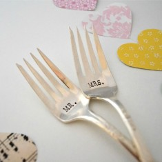 Hand-stamped vintage wedding forks