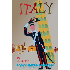 Pan America Italy vintage poster print