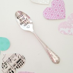 Hand-stamped vintage wedding proposal spoon