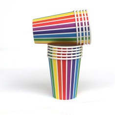 Rainbow stripe paper cups (pack of 2)