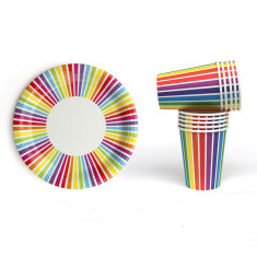 Rainbow striped paper plates and cups
