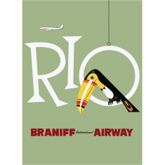 Rio Braniff International Airways vintage poster print