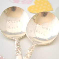 Hand-stamped vintage soup spoon pair