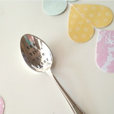 Tea time, wine later hand-stamped vintage teaspoon