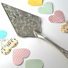 Hand-stamped wedding cake server