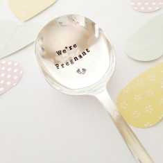 Hand-stamped vintage pregnancy announcement spoon