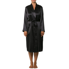 Pure Silk Robe - Black
