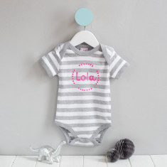 Personalised baby grow with stripes