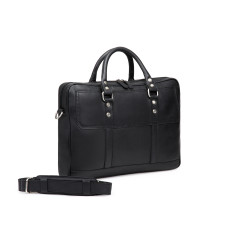 TheCultured Leather Laptop Bag In Black