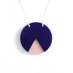 Geo circle necklace in navy and blush pink