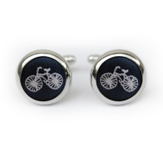 Bicycle cufflinks in navy