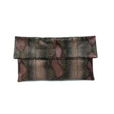 Bronze motif python leather foldover clutch bag