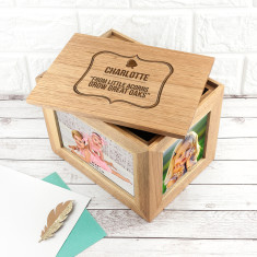 Personalised Little Acorn Midi Oak Photo Cube Keepsake Box
