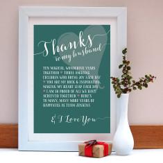 Thanks to my husband personalised anniversary print