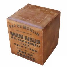Tan Leather Ottoman - Sac de Moulin
