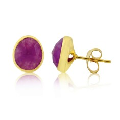 Violet Quartz Stud Earrings