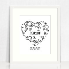 Personalised Botanical Heart Birth Print
