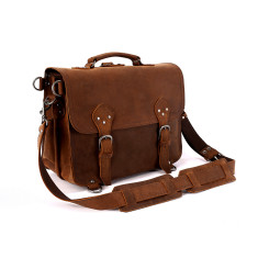 Leather Briefcase Satchel Bag In Tan