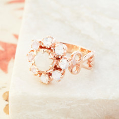 Moonstone Flower Ring In Rose Gold Plate