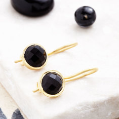 Cupcake Smaller Drop Earrings In Gold Plate With Black Onyx