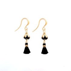 Art deco vintage brass & Czech glass flower tassel earrings in noir