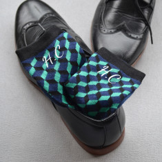 Set of Three Monogramed Geometric Socks