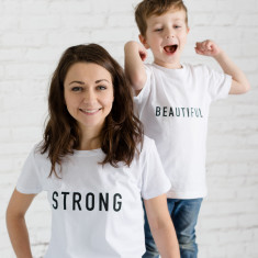 Personalised Strong And Beautiful Mother's Day T-Shirt Set