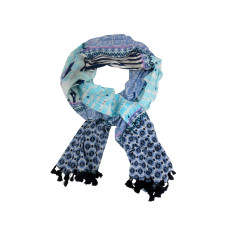 Blue patchwork cotton scarf with tassels
