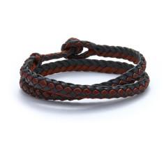 Woven leather men's double wrap bracelet in black/cognac