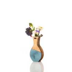 Small handmade vase in teal watercolour